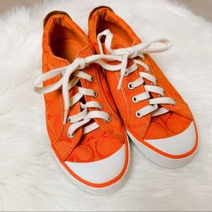 Coach Barrett Orange Signature Sneakers Shoes